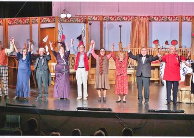 Cast members bowing on stage - Heart of the Hills Players Something's Afoot Performance 2018